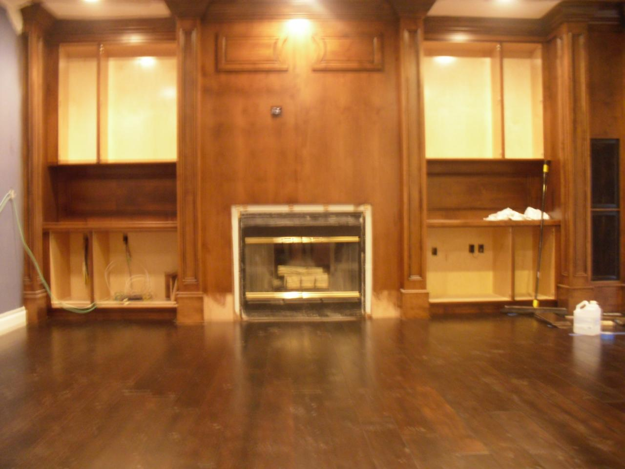 Wood floors and panels in living area